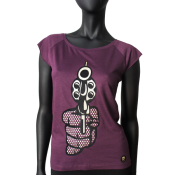 T-shirt femme, col rond, manches coupees, aubergine.