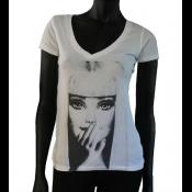 T-shirt col V blanc Femme - INFINITY 8