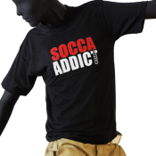 Tee-shirt junior col rond noir - SOCCA ADDICT