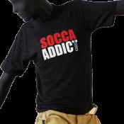 Tee-shirt junior col rond noir - SOCCA ADDICT