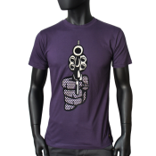 T-shirt homme, col rond, aubergine.
