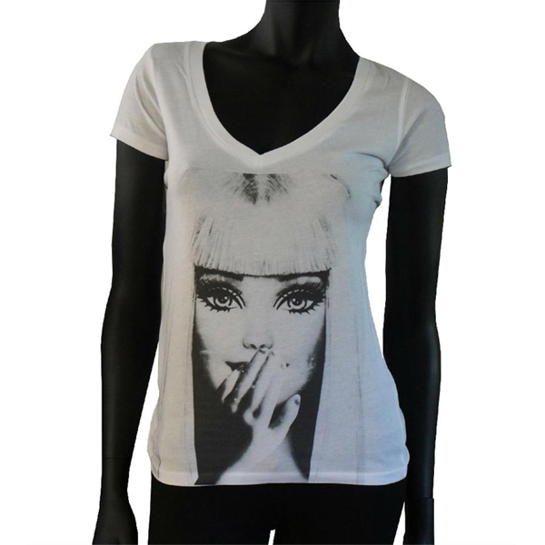 19106bd7373 Popart Collection - T-shirt col V blanc Femme - INFINITY 8 - Pop-Art ...